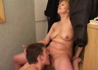 Blonde getting fingered by her son
