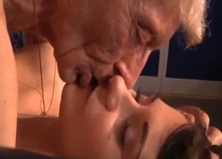 Grandpa destroys this brunette's pussy