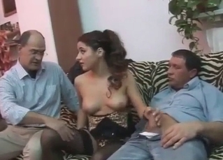 Slutty babe fucks dad and uncle