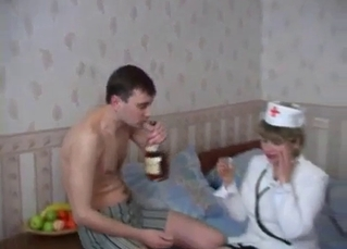 Drunk mommy nurse fucks her son