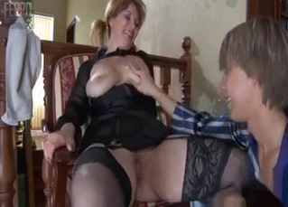 Stockings-clad mommy and her little boy
