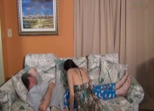 Teen wants to fuck sleepy daddy here