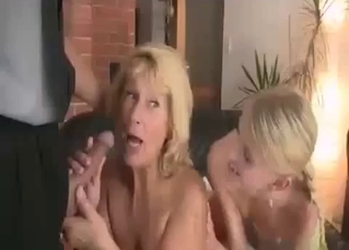 Blonde cannot wait to handle 2 cocks