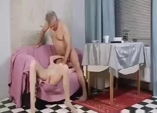 Flexible blonde showing her devotion