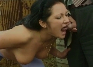 Dark-haired slut forced to drink piss