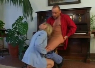 Blonde gets face-fucked like slut