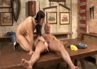 Furious incest fuck action on a table