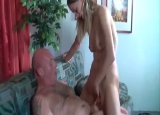 Ponytailed slut enamored with her dad