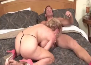 Blonde cannot wait to suck his boner
