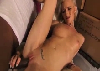 Blonde has to moan loud to keep him calm