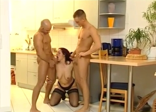 Kitchen incest threesome in HD