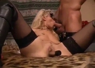 Stockings and brutal fucking on a bed