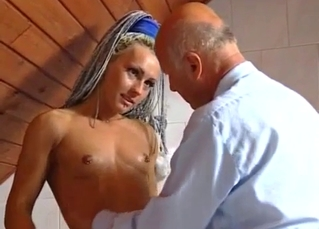 Trashy-ass blonde molested by her father