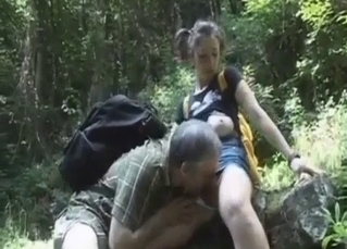 Incredible outdoors sex with daddy
