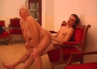 Fat Russian mom rides her hung son