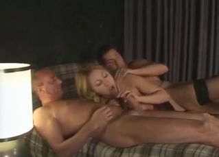 Stockings-clad blonde spit-roasted