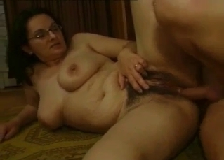 Nerdy slut takes her father's dick
