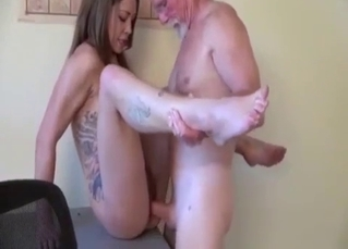 She gets bent over and brutally drilled